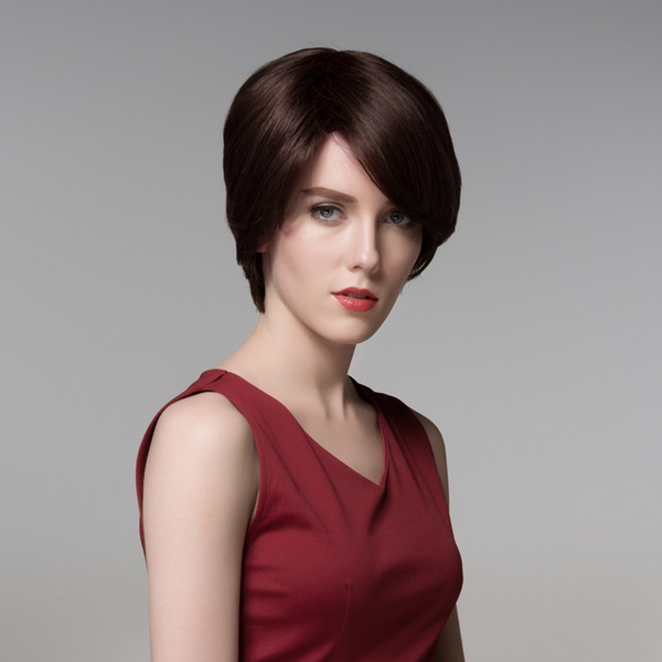 Charming 12 Colors Side Bang Short Straight Virgin Remy Mono Top Capless Human Hair Wig