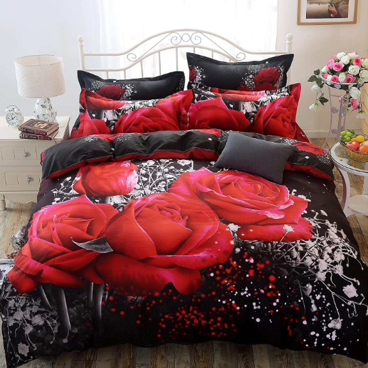 3D Printed Bedding Sets Bedclothes Red Rose Bed Sheet Cover With 2 Pillowcases