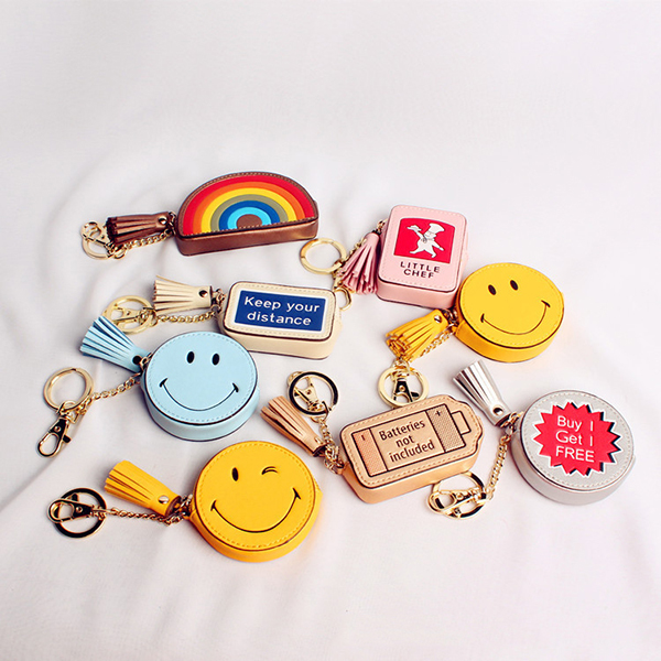 Cash Change Handbag Letter Words Leather Bag Car Cute Key Chain Ring Decoration