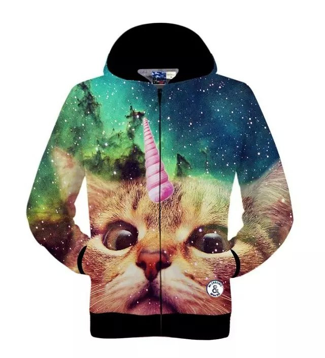 Men Sping Fall Dacron 3D Cartoon Cat Printing Zipper Hoodies Coat Sweatshirt