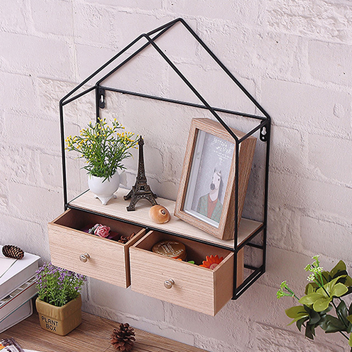 Retro Triangle House Double Drawer Wood Iron Craft Wall Shelf Rack Storage Industrial Decorations