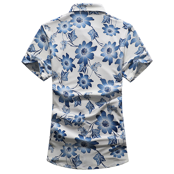 Hawaii Holiday Beach Seaside Flowers Printing Short Sleeve Leisure Men Shirts Plus Size S-5XL