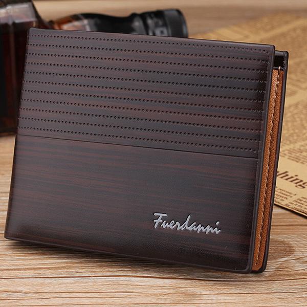 6 Card Slots PU Leather Wallet Horizontal Card Holder Short Wallet For Men