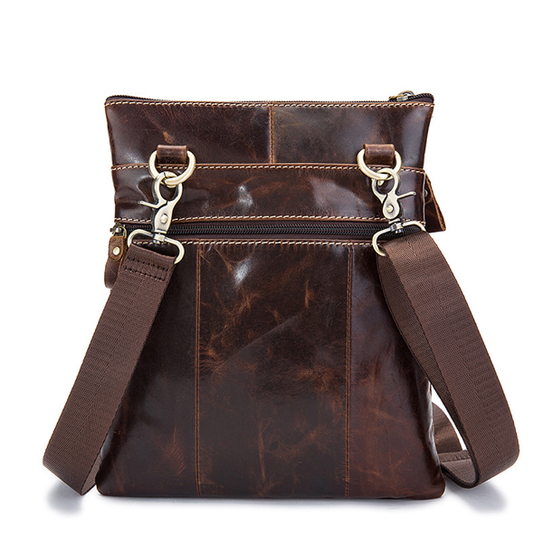 Real Leather Shoulder Bag Retro Brown Crossbody Bag For Men