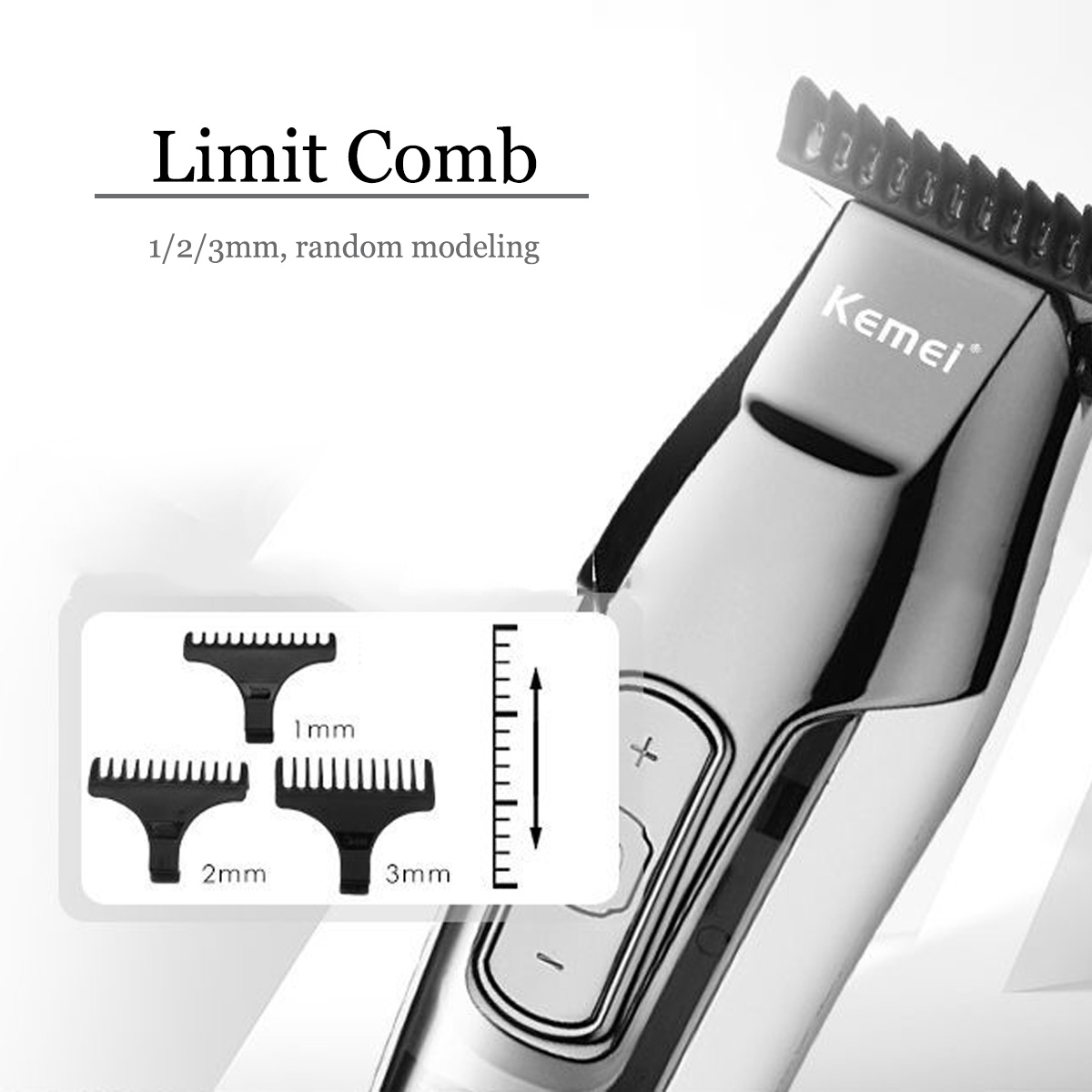 KM-5027 Cordless Rechargeable Hair Clipper LCD