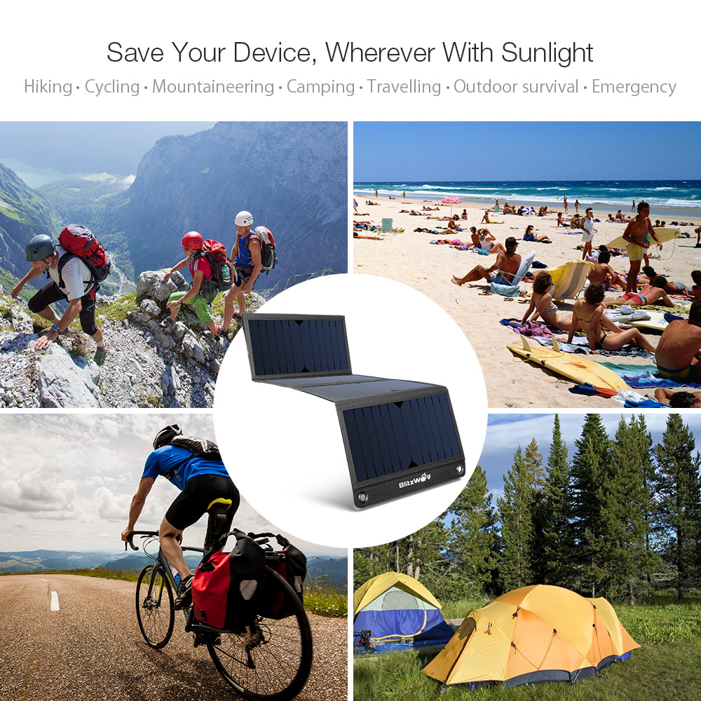 BlitzWolf® BW-L3 28W 3.8A Sun Power Foldable Solar Charger Dual USB with Power3S for iPhone 7/ 7Plus, iPad Air/ mini Camera and More