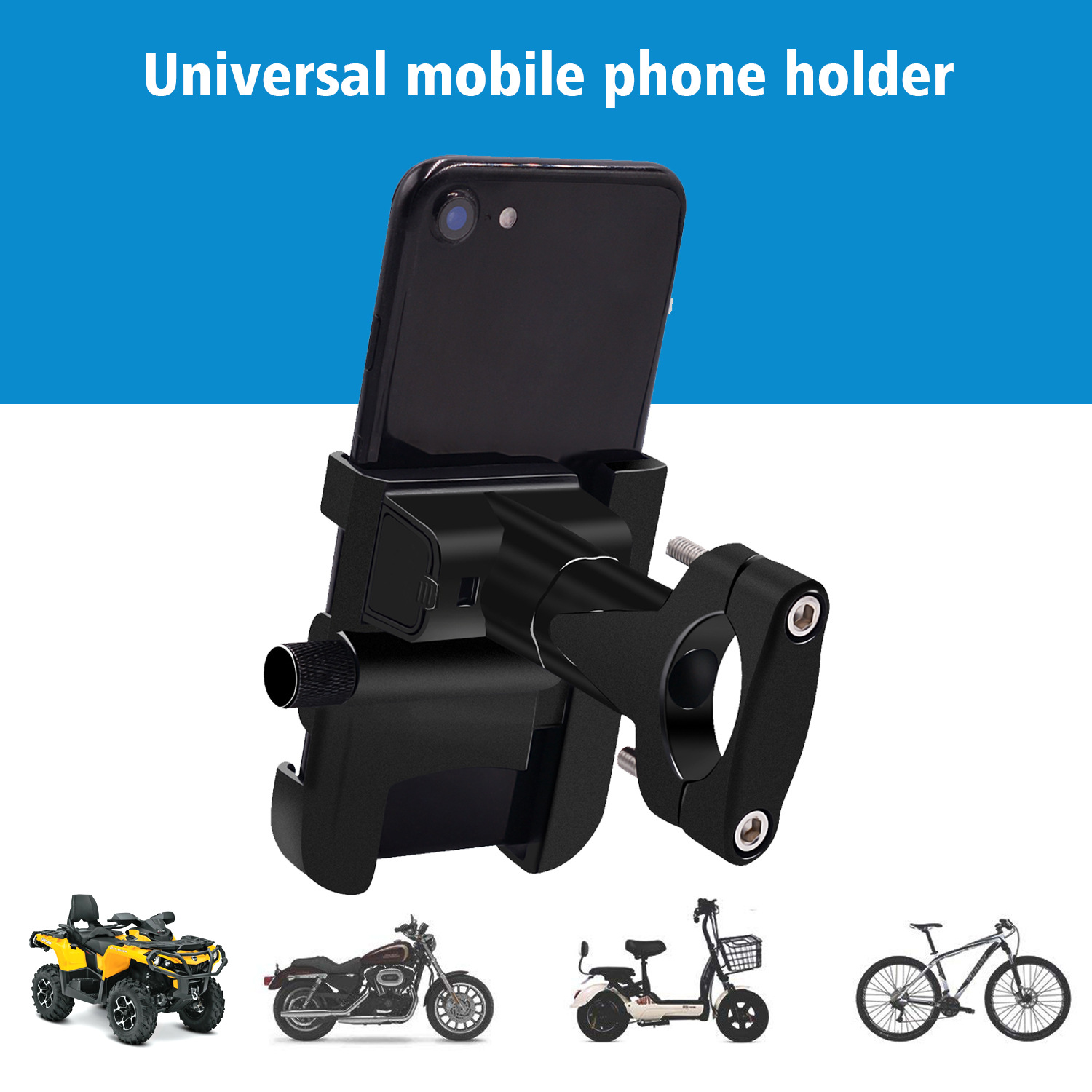 QC3.0 USB Charger 4-7inch Fast Charging Aluminum Alloy Motorcycle Phone Mount Holder Bracket