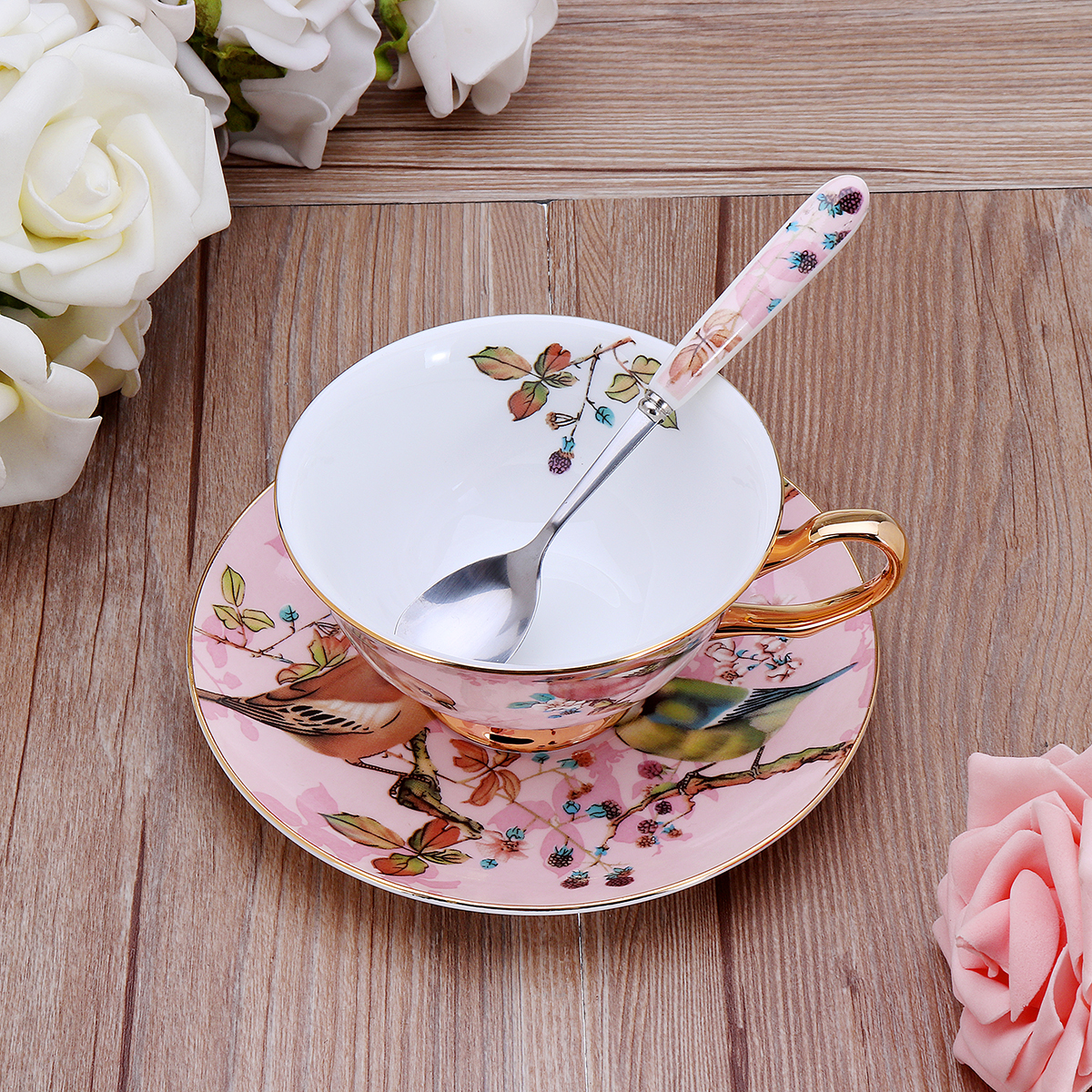 Fine Bone China Tea Coffee Cup Saucer Spoon Set 200ml Luxury Ceramic Mug
