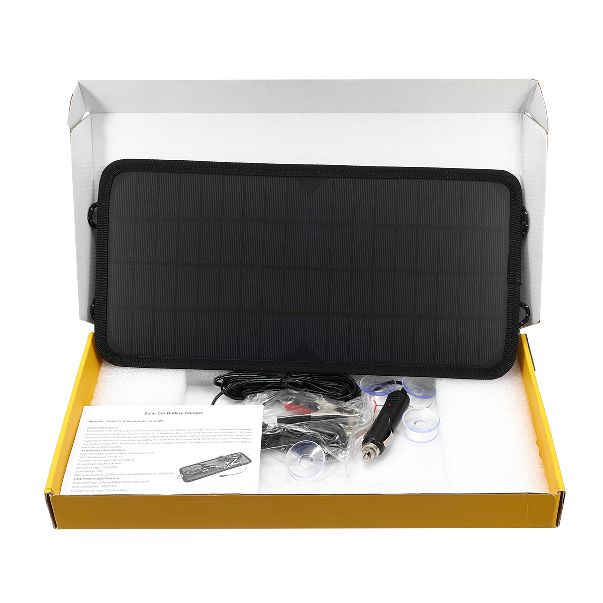 18V 8.5W Solar Panel Power Battery Charger Portable For Car Boat Motorcycle Bike