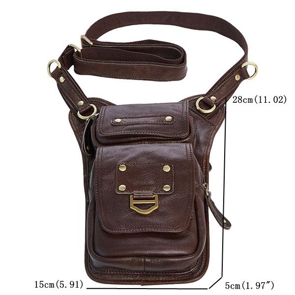 Ekphero Men Genuine Leather Vertical Shoulder Bag Vintage Leisure Business Crossbody Bag Phone Pack