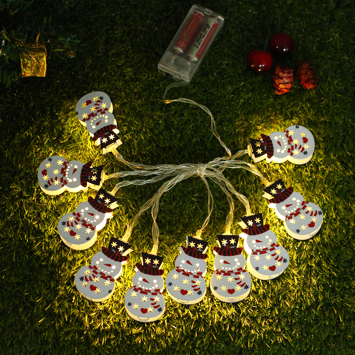 Battery Powered 1.8M 10LEDs Snowman Bell Elk Candle Shaped Indoor Fairy String Light for Christmas