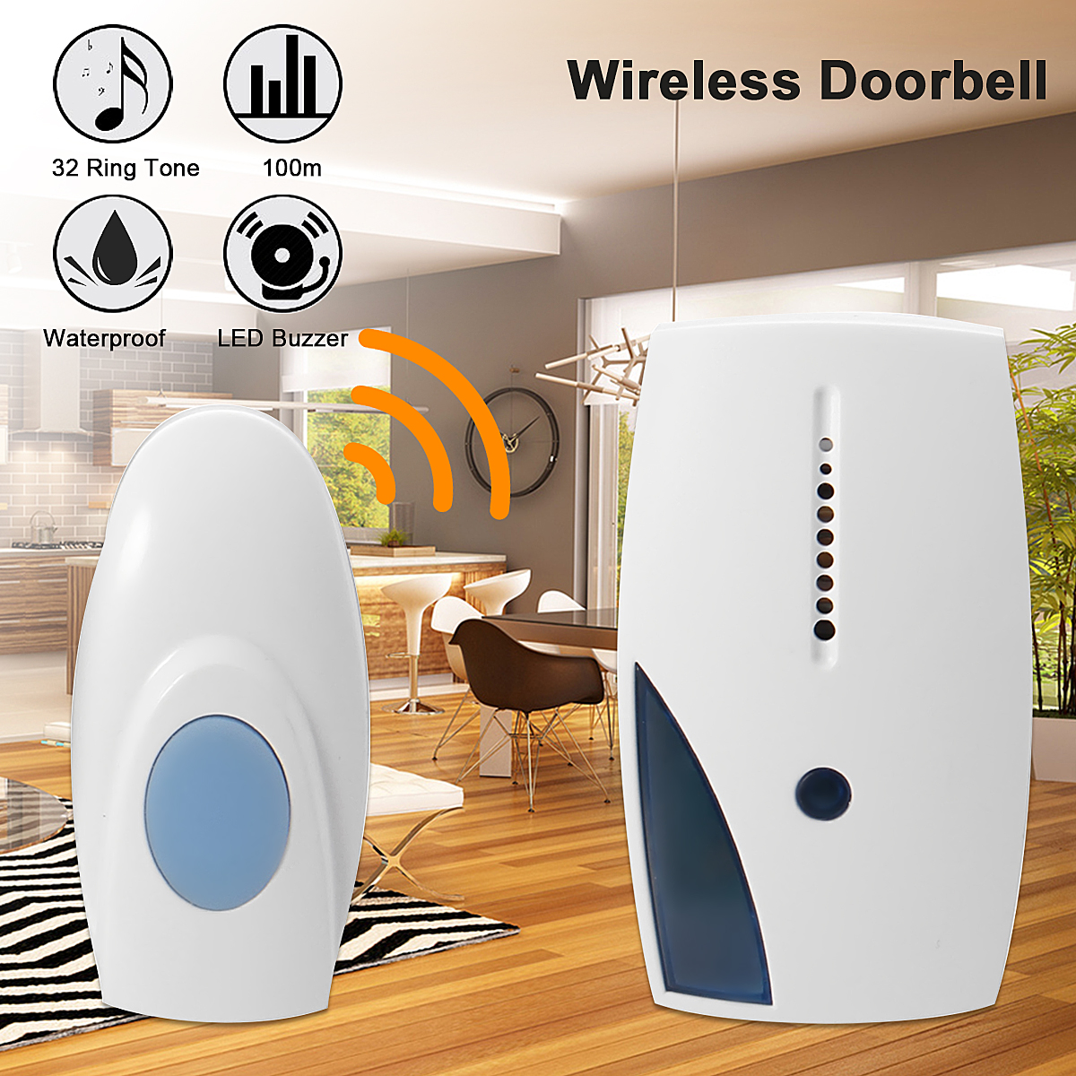 Wireless Home Digital Doorbell 100M Range Cordless Door Bell 32 Chimes