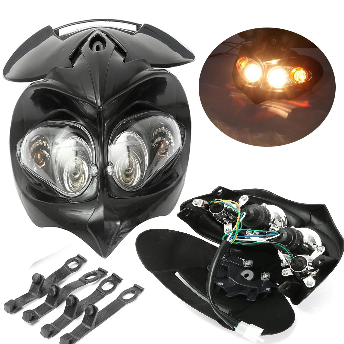 12V Headlight Fairing Motorcycle Dual Sport Motocross Street Fighter Dirt Bike