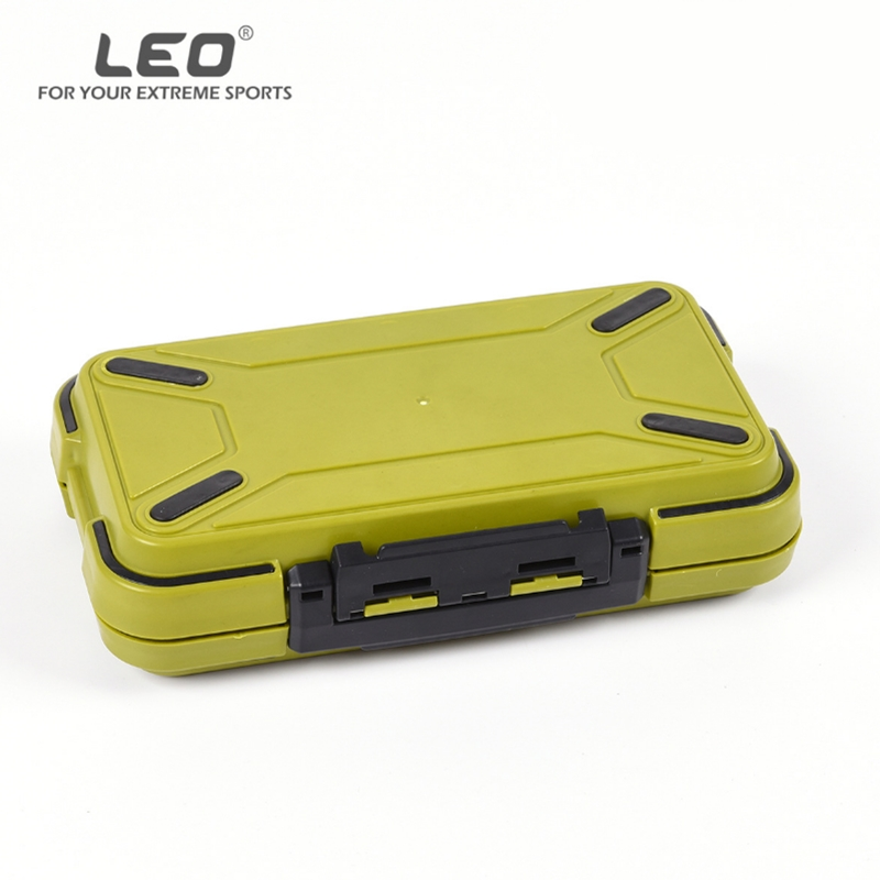 LEO 20cm/7.87in Waterproof Storage Case Army Green Fishing Tackle Box Accessories