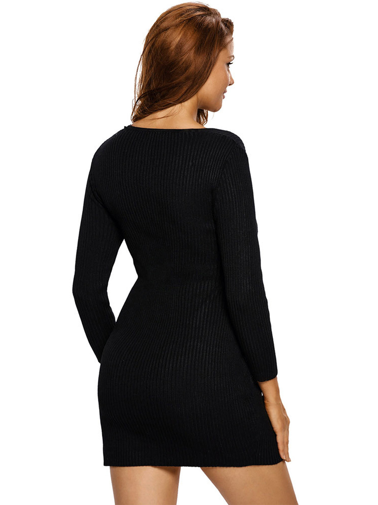 Sexy Knitted Cross Wrapped Long Sleeve Bodycorn Women Sweater Dress