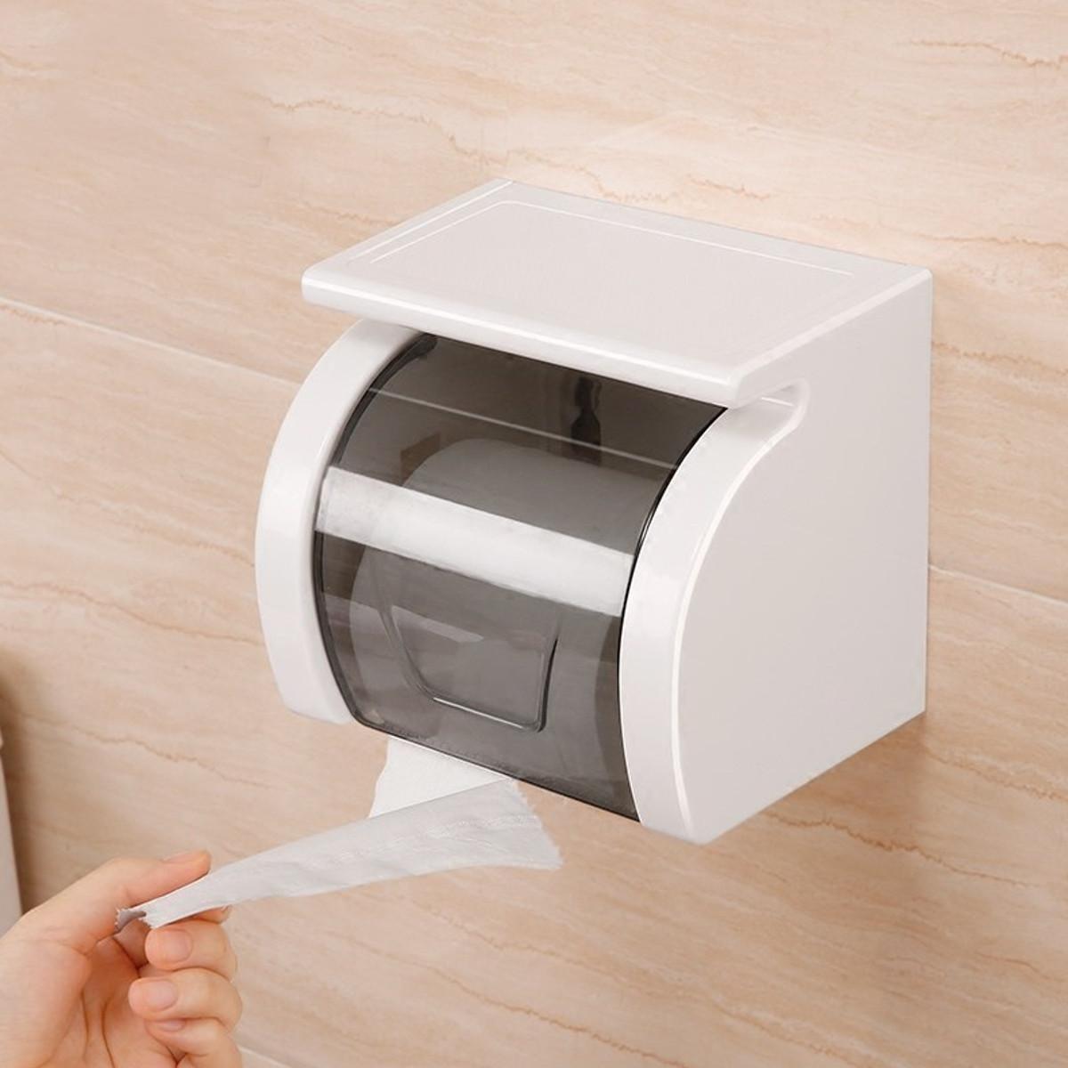 Toilet Paper Roll Shelf Holder Bathroom Tissue Box Dispenser Waterproof Easy Install