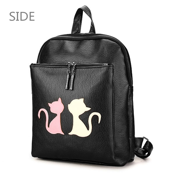 Women Cute Cat Backpack PU Leather School Bag