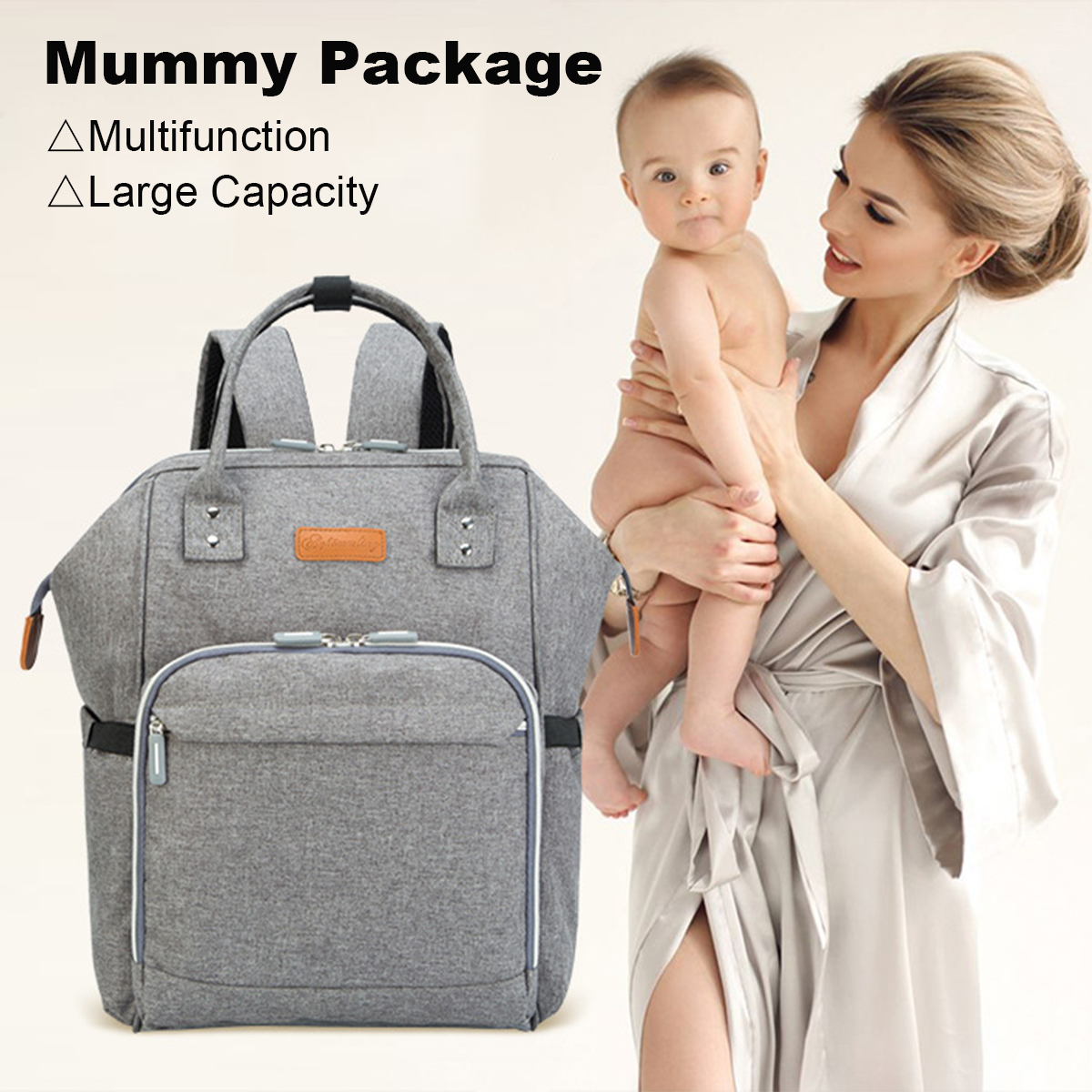 4Pcs Mummy Nappy Diaper Bag Set Nappy Diaper With Nursing Feeding Bottle Pouch Baby Car Hook