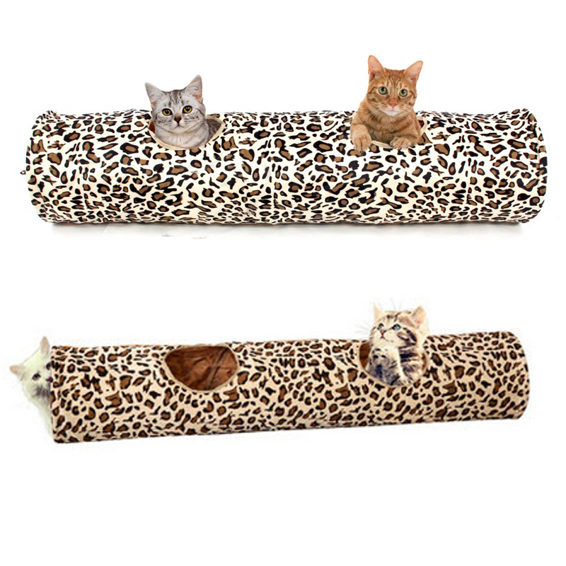 Pet Cat Soft Play Tunnel Toy Collapsible Leopard Print Kitten 2 Holes Long Tunnel Rabbit Fun Toys