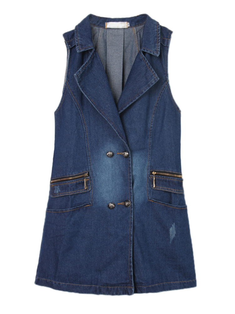 Casual Women Double-Breasted Denim Sleeveless Long Vest Waistcoat