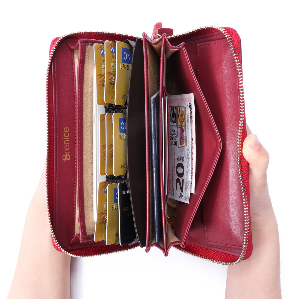 Brenice Women RFID Blocking Cowhide Zipper Long Wallet Large Capacity Card Holder Coin Purse