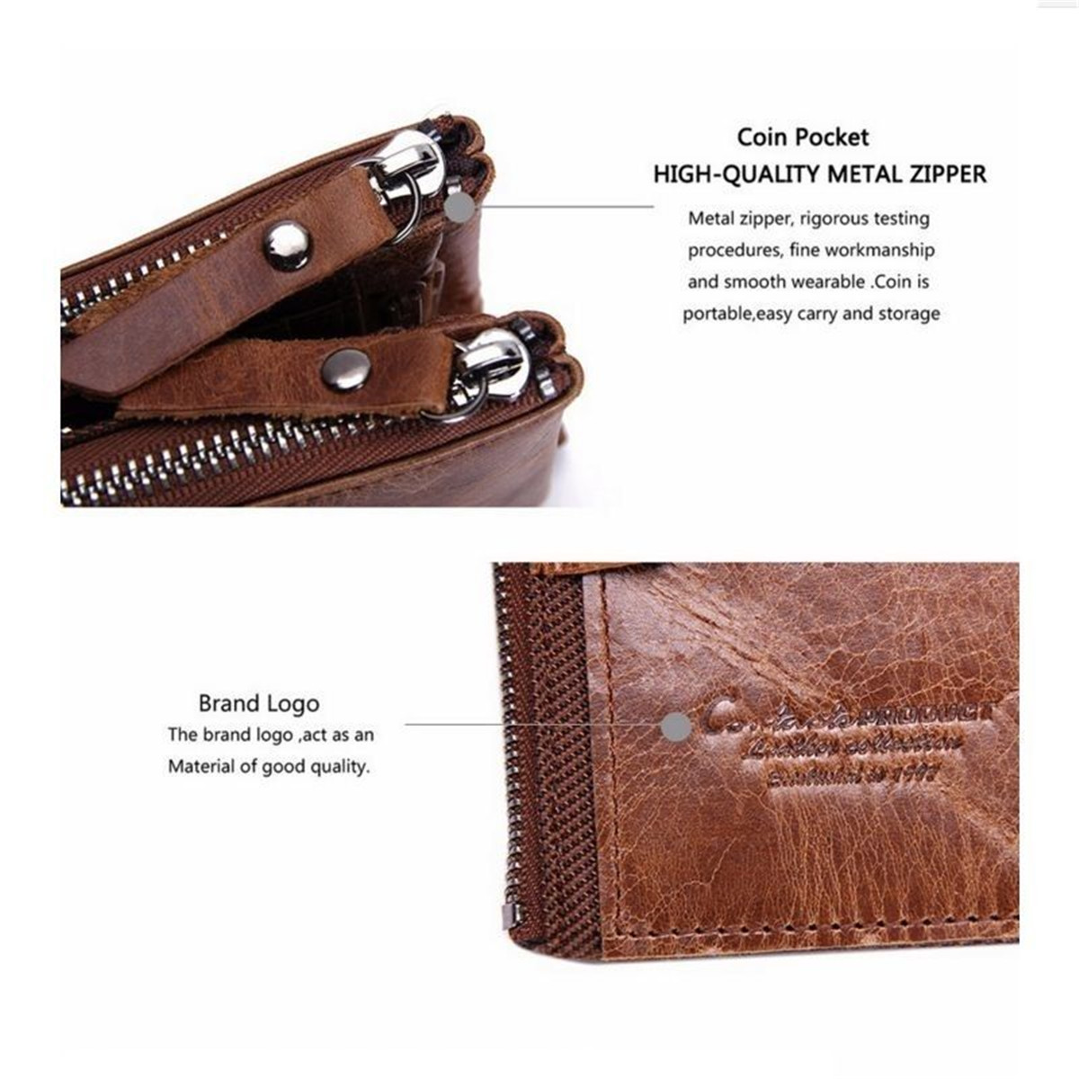 Men Genuine Leather ID Credit Card Holder Clutch Bifold Coin Pocket Purse Wallet for Mini Card Phone