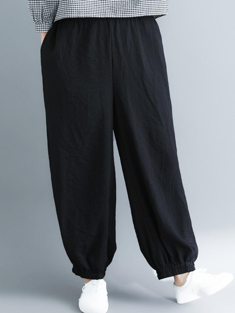 Solid Color Elastic Waist Baggy Wide Leg Harem Pants
