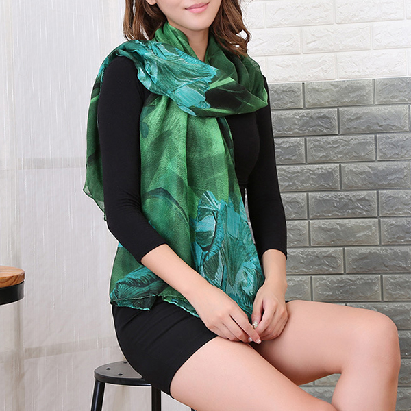 Women Printing Flower Scarf Beach Towel Shawls