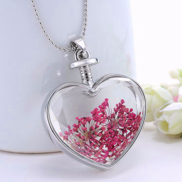 Heart Glass Dry Flower Pendant Necklace Alloy Jewelry ...