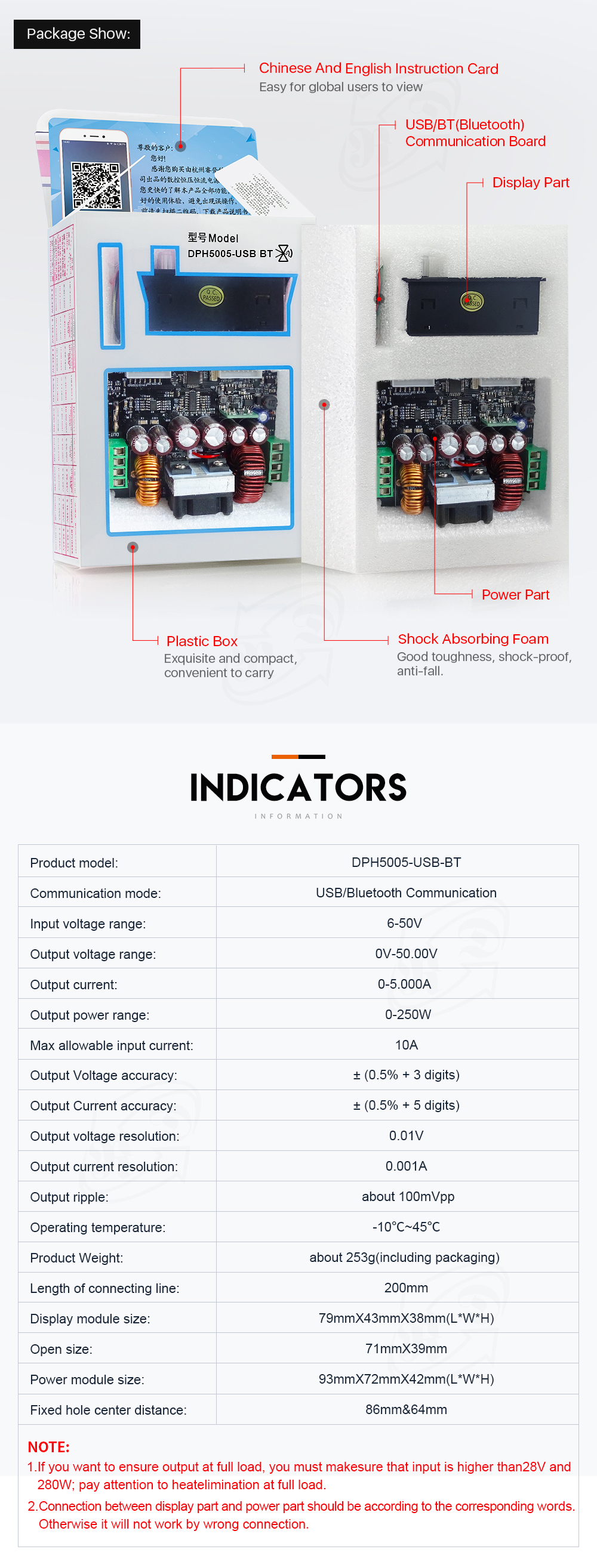 RIDEN® DPH5005 Buck-boost Converter Constant Voltage Current Programmable Digital Control Adjustable Power Supply Color LCD Voltmeter 50V 5A Module