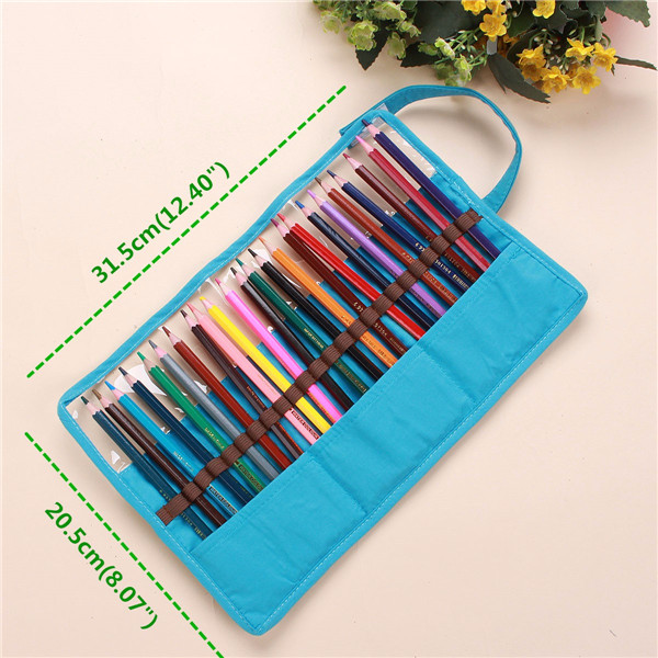 Canvas Plastic Dot Pencil Pen Case Wrap Roll up Pen Bag Pocket Holder