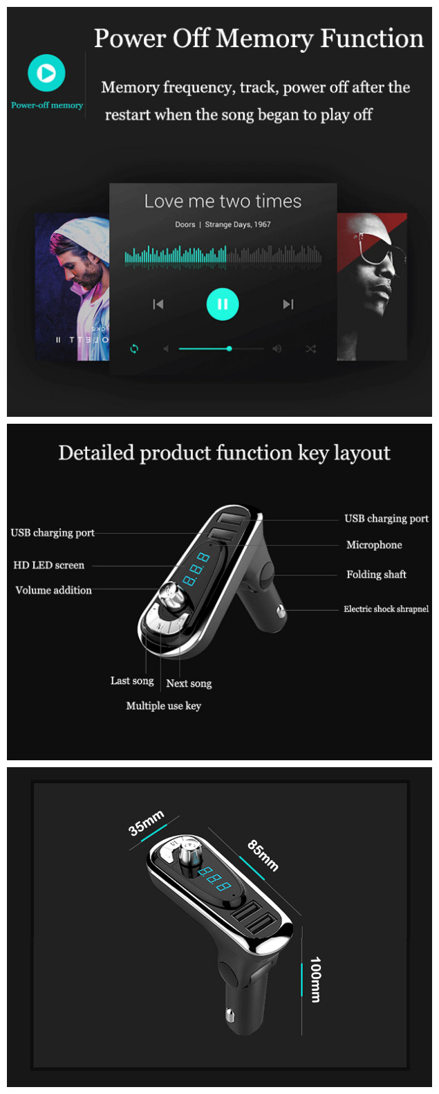 T16 Car MP3 Audio Player FM transmitter Bluetooth Wireless Hands-free Car Kit USB Charger AUX Output