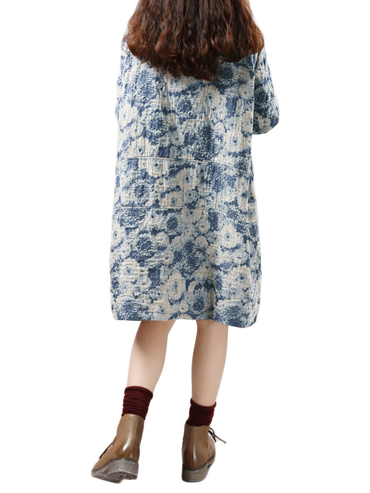 Folk Style Women O Neck Floral Printed Cotton Linen Straight Dress