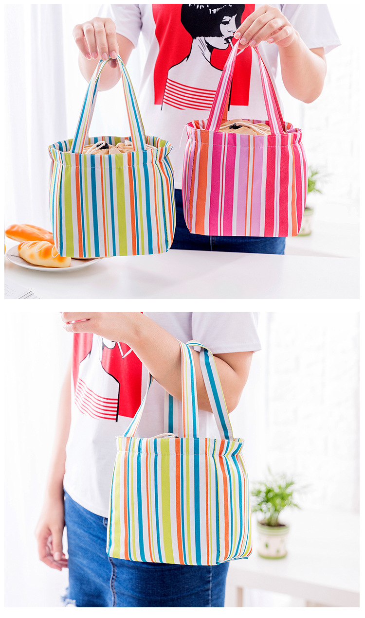 Drawstring Lunch Tote Bag Portable Travel Picnic Cooler Insulated Handbag Food Storage Container