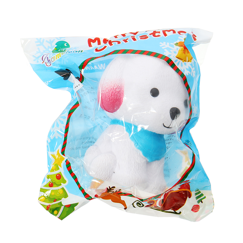 Chameleon Puppy Squishy With Blue Scarf 9cm Slow Rising With Packaging Collection Gift Soft Toy