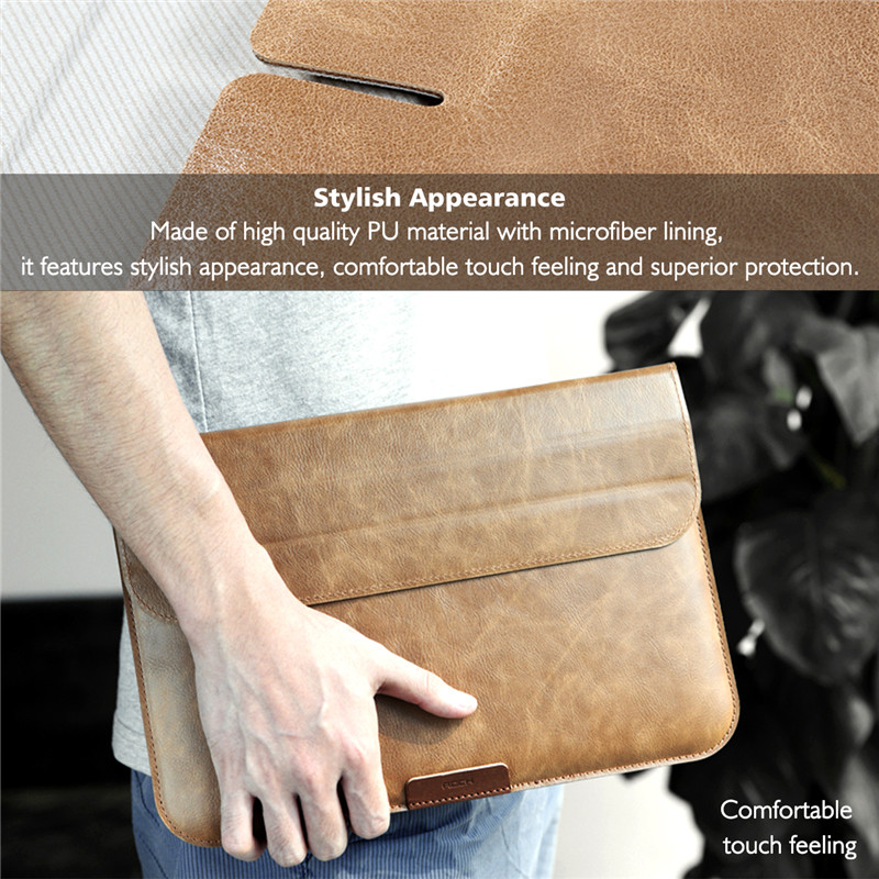 Rock Retro PU Leather Folding Folio Sleeve Pouch Carrying Bag With Stand For Macbook 12 Inch