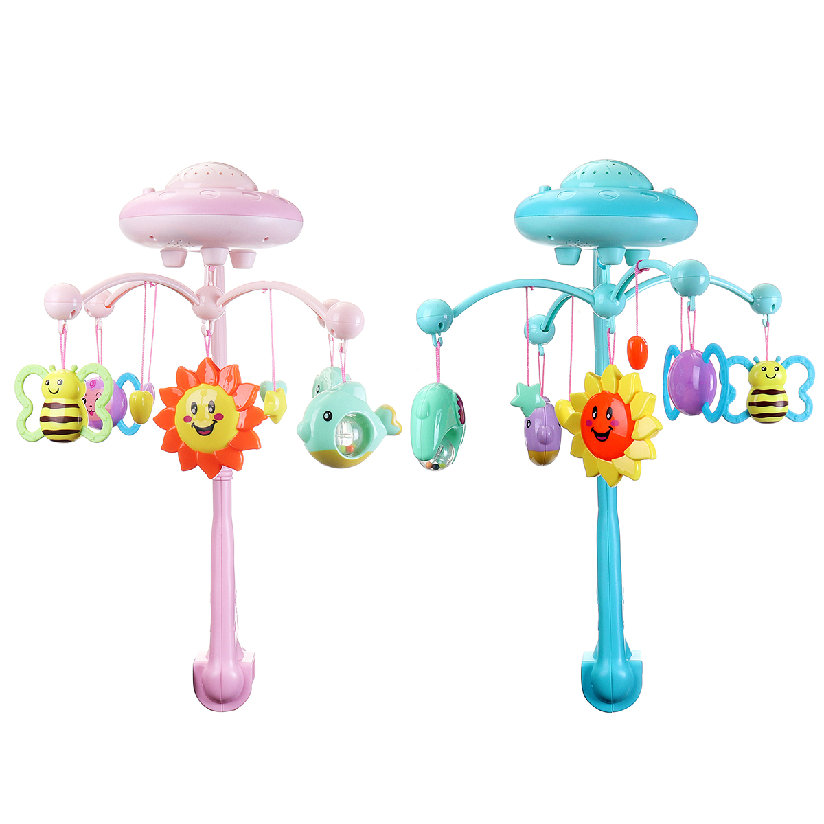 0-12 Months Crib Mobile Musical Bed Bell With Animal Rattles Projection Cartoon Early Learning Toys