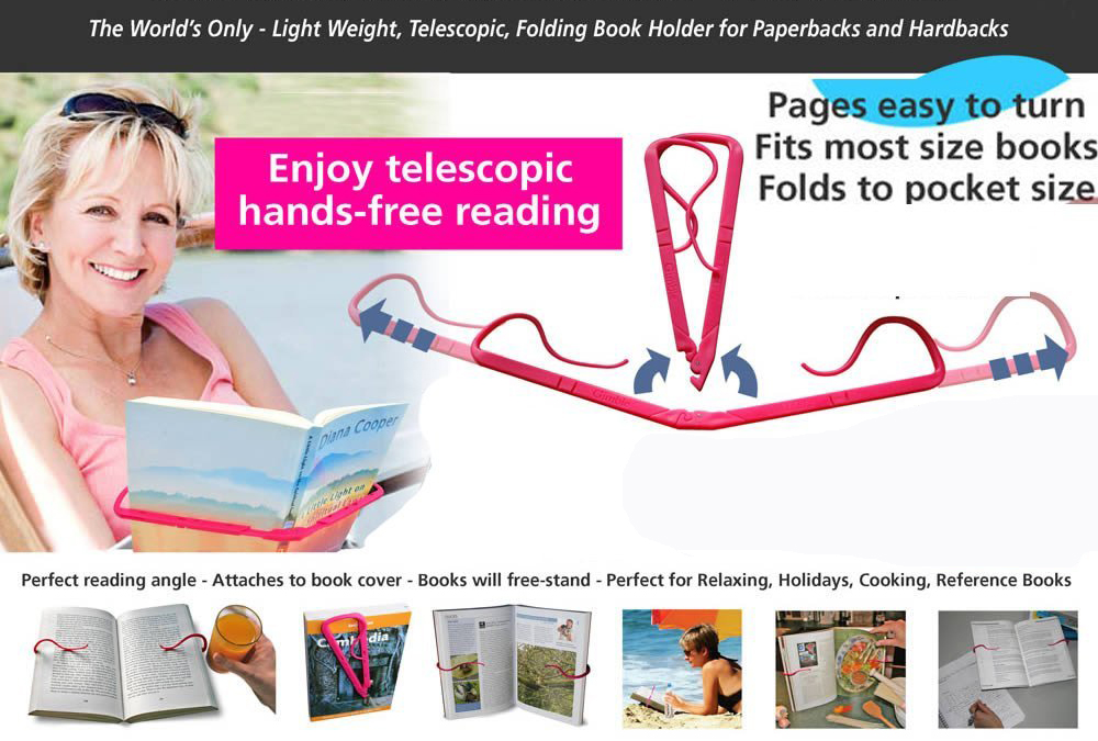 Creative Hands Free Book Page Holder Adjustable Bookmark for Reading Portable & Foldable Relaxed Bookstand Book Support Clip for Office Outdoor Outside Reading