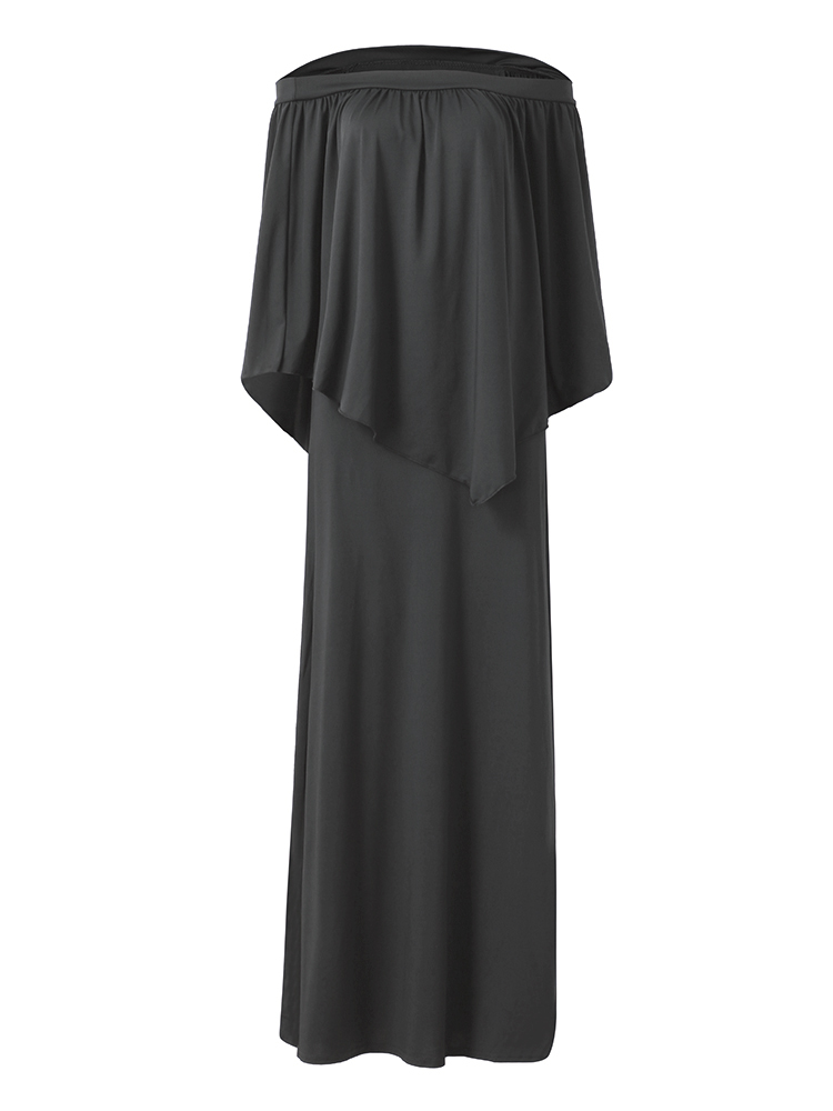 Solid Sexy Off Shoulder Elegant Ruffles Cloak Loose Maxi Dress