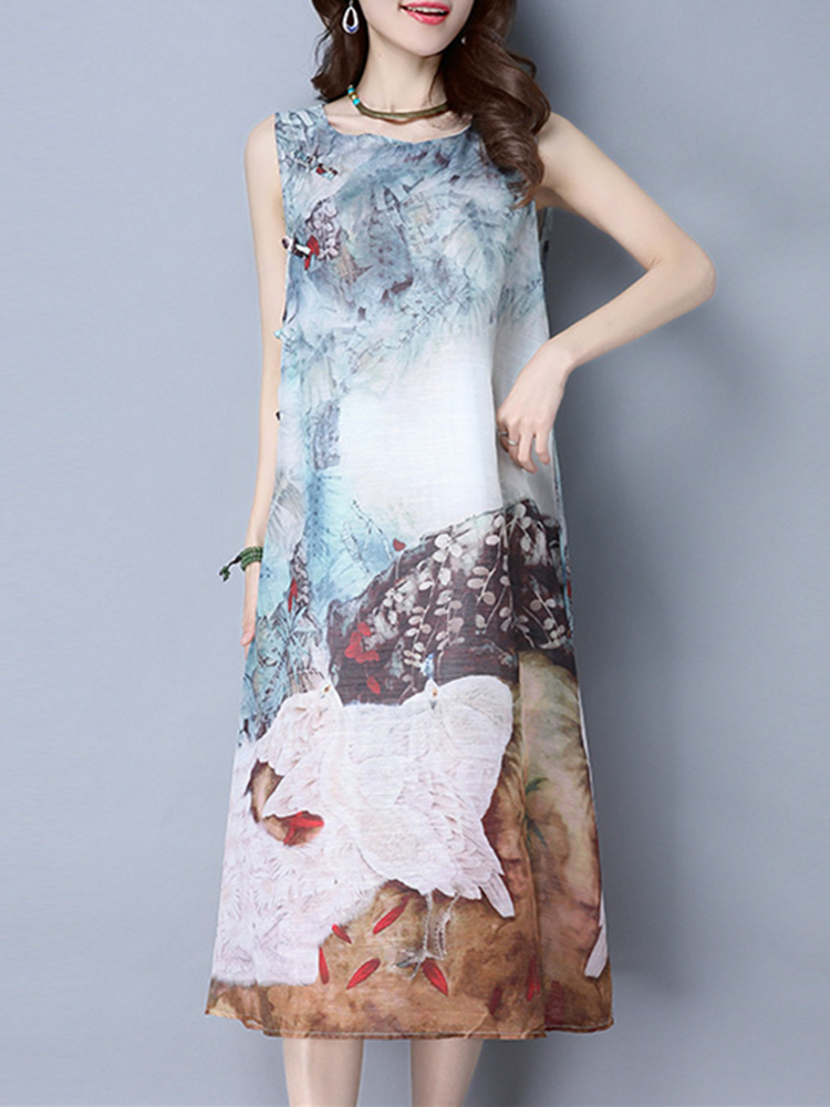 Vintage Printed Sleeveless Loose Summer Women Dresses