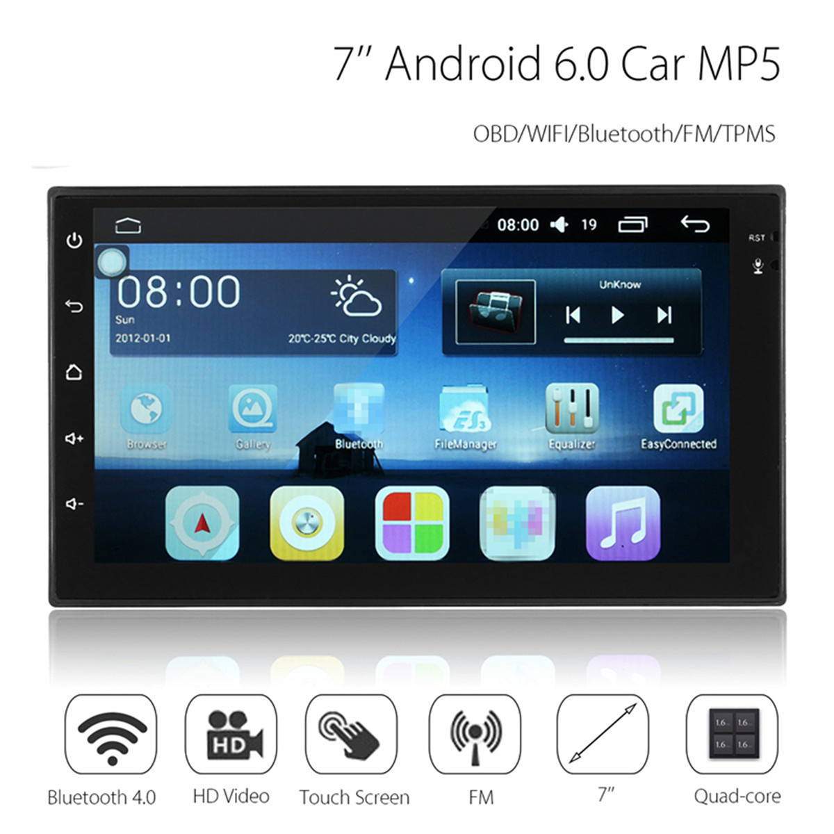 Android 7 Inch 2 Din HD Touch Screen WIFI bluetooth 4.0 Mirror Link Car Black MP5 Player OBD