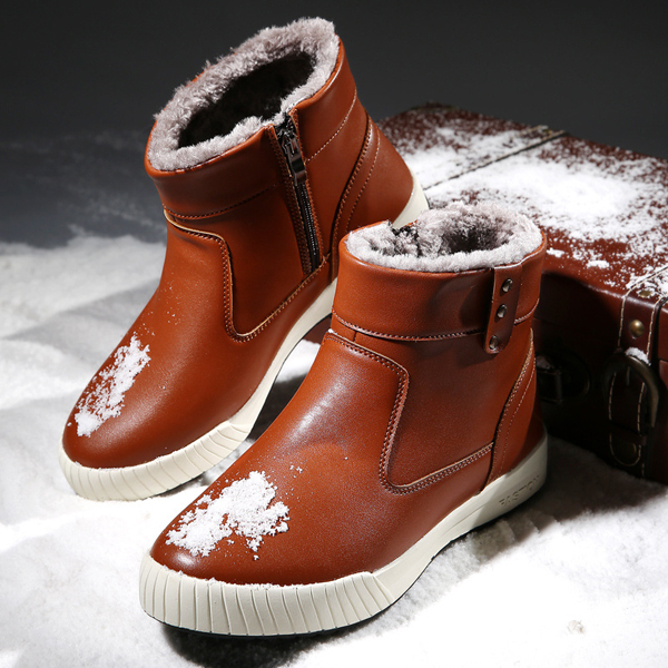 Warm Faux Fur Lining Zipper Round Toe Ankle Short Boots For Men