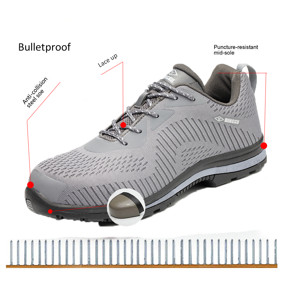 TENGOO Safety Shoes Steel Toe Labor Insurance Shoes Anti-Smashing Non-Slip Outdoor Hiking Work Shoes