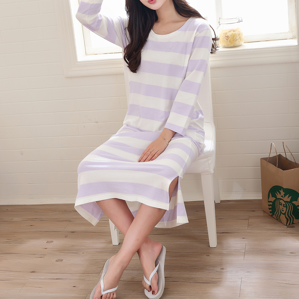 Nine Points Sleeve Stripe Soft Slits Long Nightdress