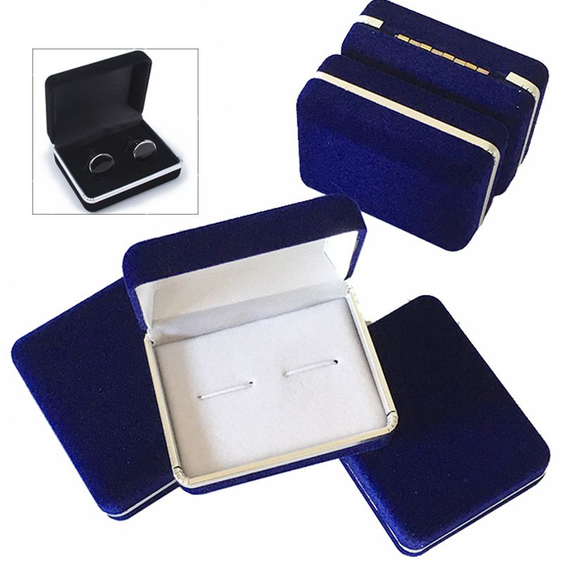 Velvet Earring Ring Cufflink Cuff Links Jewelry Packing Box