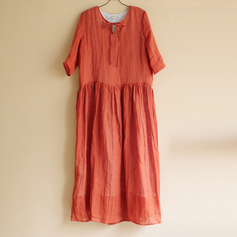 Women Vintage Half Sleeve Solid Swing Maxi Dress