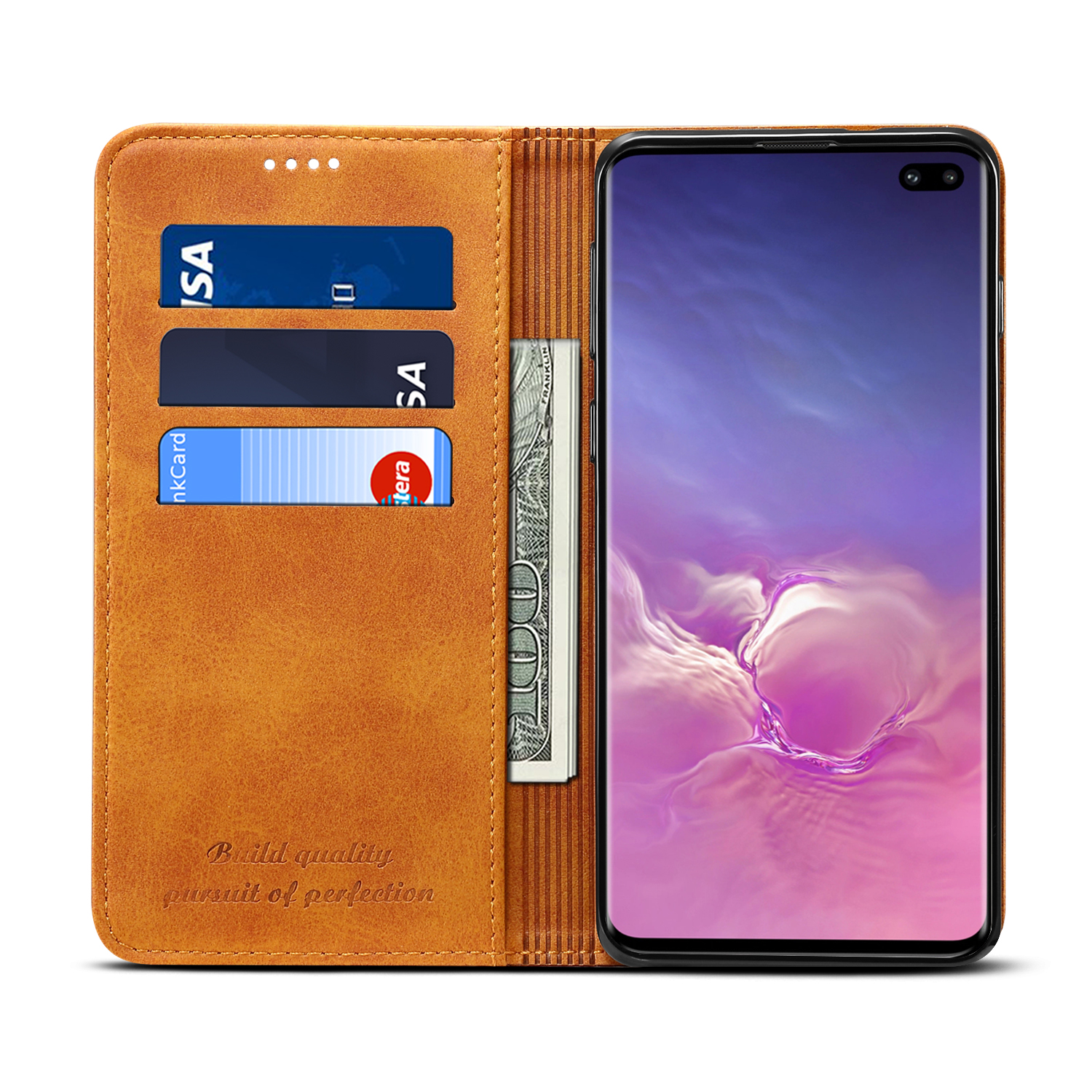 Bakeey Magnetic Flip Protective Case For Samsung Galaxy S10 Plus 6.4 Inch Wallet Card Slot Kicktand Cover