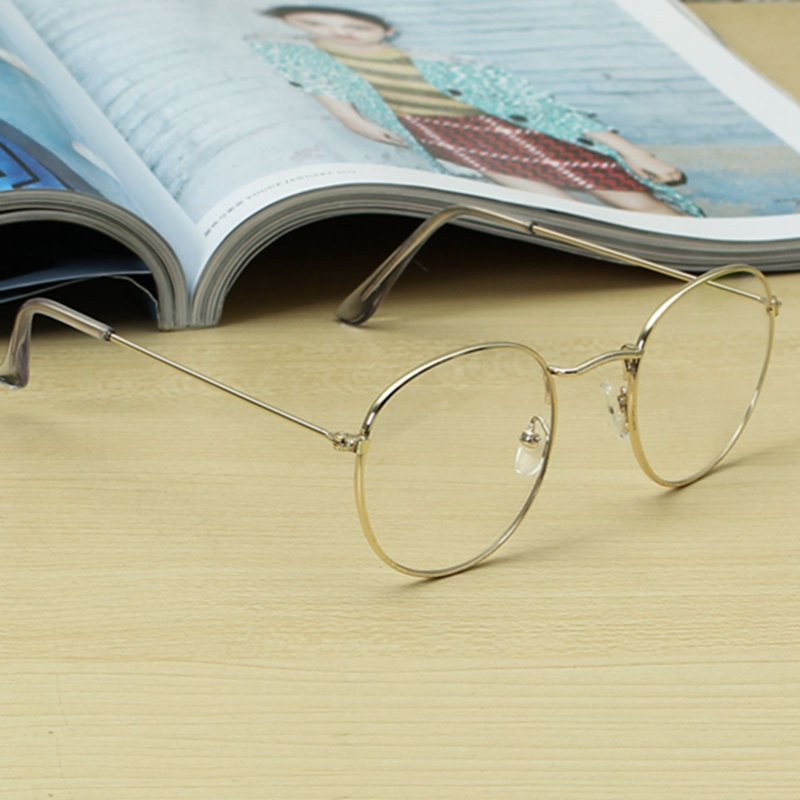 Retro Vintage Oval Transparent Golden Eyeglasses Frame Steel Legs Glasses Spectacles Metal Frame