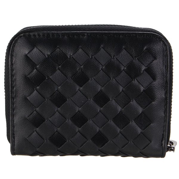 Women Purse Wallet Small Bag Girl Weave Leather Coin Card Holder Clutch Bag