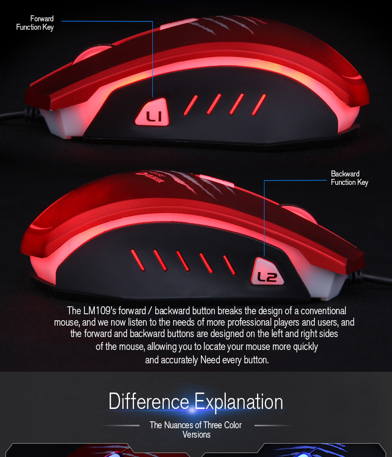 Dareu LM109 2000DPI Adjustable 6 Buttons Optical LED Gaming Mouse Wired USB Ergonomic Mice